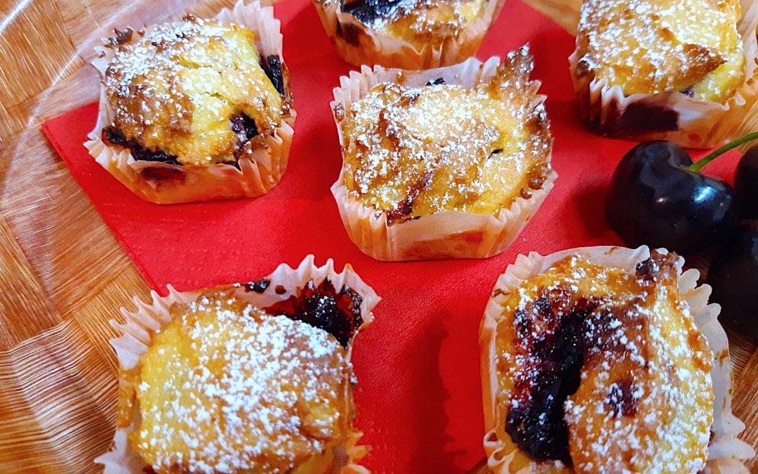 Muffin alle Ciliegie con farina di fagioli bio