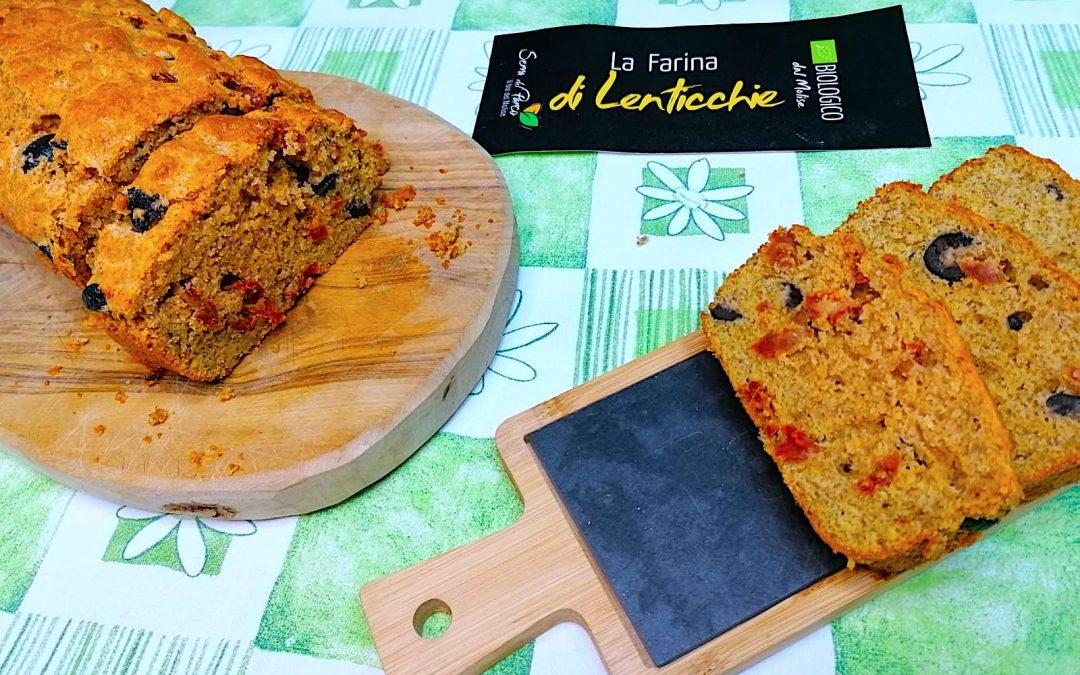 Plumcake salato con Olive, Pomodori Secchi e Farina di Lenticchie Bio